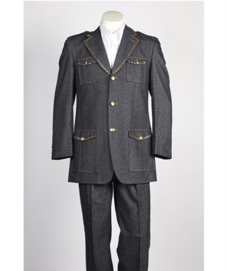 Mens Safari Military Style 2 Button diamond nail heads Black Suit