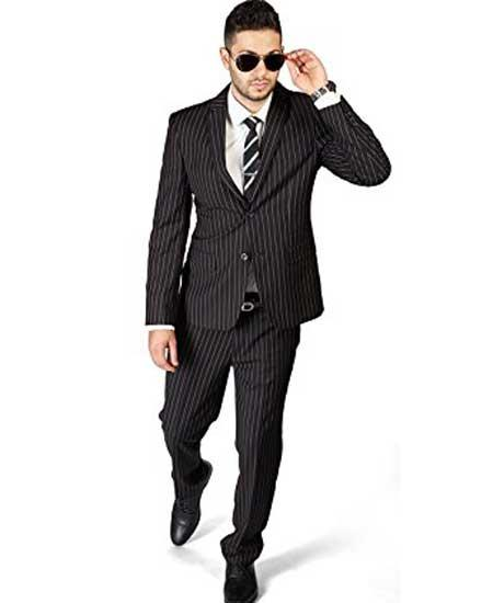 Men's Stripe ~ Skinny Style Black 2 Button Slim Fit Pinstripe Flat Front Pants Cheap Priced Business Suits Clearance Sale