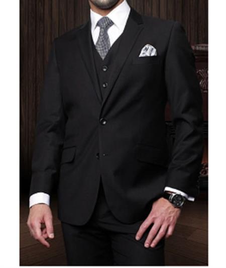 Statement Confidence Mens Black 3 Piece 2 Button Italian Designer Fine Brands Best Italian Style Cut Suits