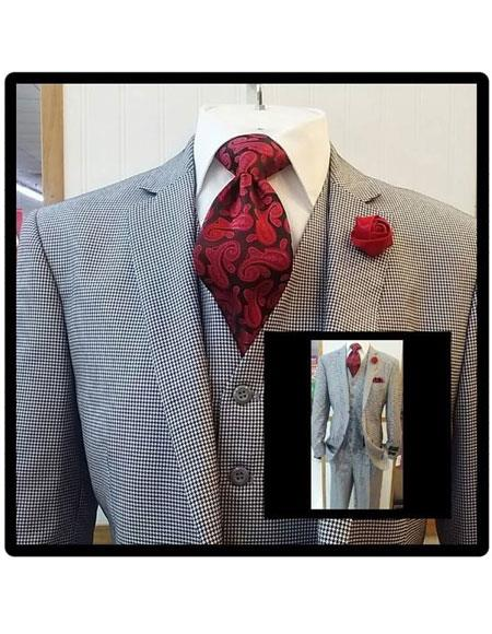 Slim Fit Suits Black/White Houndstooth Tweed Vested 3 Piece Suit 2 Button Side Vented Flat Front