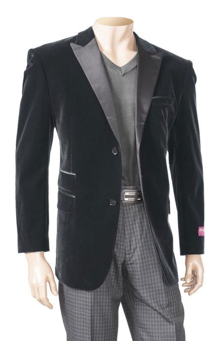Black Mens Big And Tall Blazers Velvet ~ Velour Clearance Cheap Priced Blazer / Sport Coat