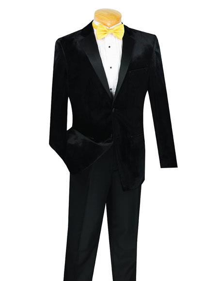 Men's 2 Button Velvet Tuxedo  Black