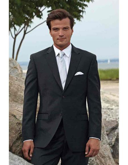 Mens Black Front Flap Pockets Two Buttons Package Combo Suit