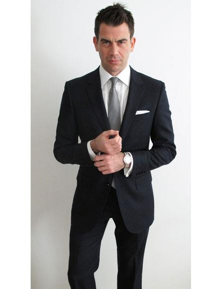 Mens black suit white shirt grey tie package deal 2 button notch lapel side vented Slim Fit or Regular Fit Cut