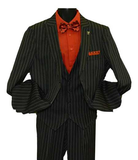 Buy SM1442 Men's Peak Lapel Striped Two Button Single Breasted Vested Suit Black