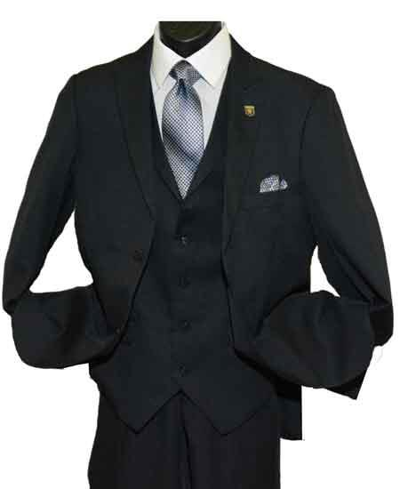 Mens Black 2 Button Side Vent Peak Lapel V-Neck Vested Suit