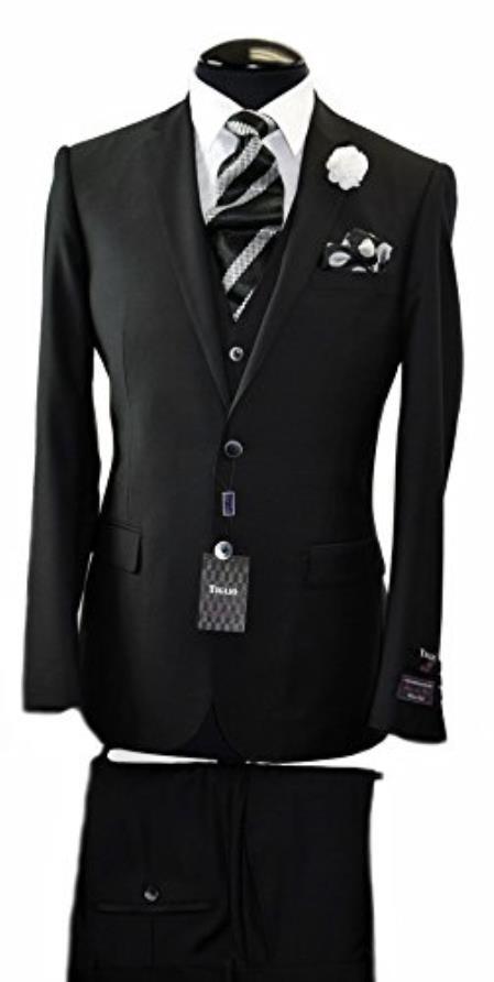 Buy SS-2587 Tiglio Italian Black Slim Fit Suit & Vest