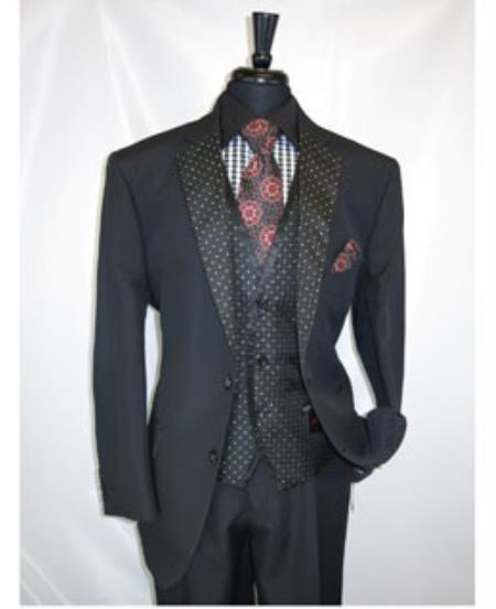 Mens Black 2 Button Notch Lapel Vested Suit Jacket