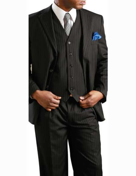 Mens Black 2 Button Banker Pinstripe ~ Stripe Notch Lapel 3 Piece Vested Suit