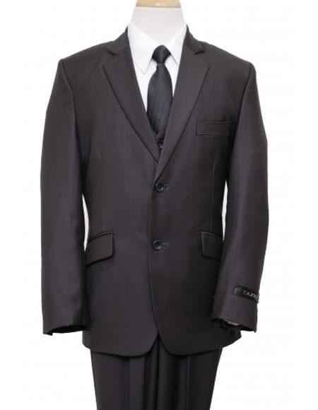 Black Boys Husky Suit Cut Vested Suit