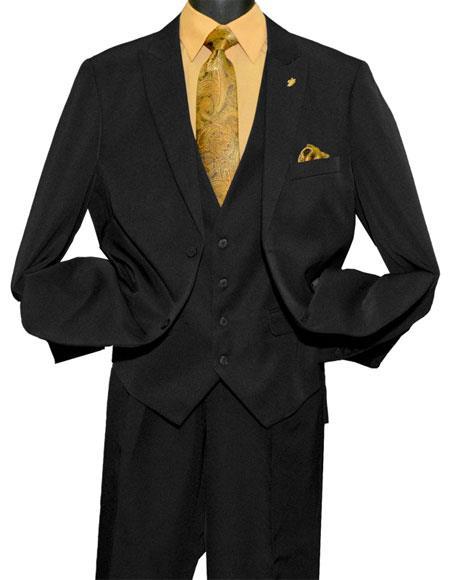 Falcone Men's Fashion 2 Button Black  Vested Peak Lapel Suit