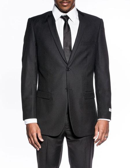 Buy CH2087 Mens classic black extra slim fit wedding prom skinny suit