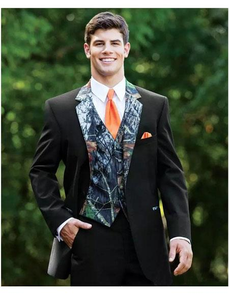 Mens Black Slim Fit 2 Button Full Sleeve Camo Print Wedding Tuxedo Suit