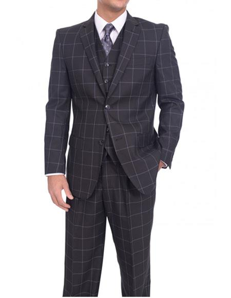 Men's  Two Button Classic Fit Solid Black/Blue Windowpane Three Piece Suit