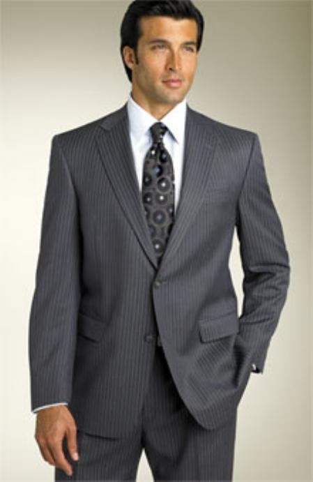 Pinstripe 2BV Expensive Mini Track stripe ~ Pinstripe Two Button Modern Fit notched lapel 100% Super Wool