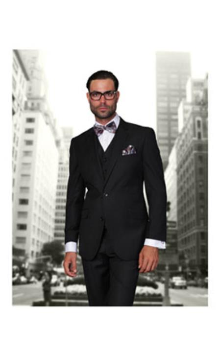 Buy SS-7354 Men's Black 2 Button Modern Fit Wool Suit