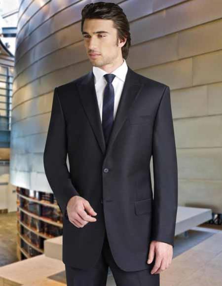 Buy SM2687 Tiglio Men's Italian Super 150's Wool Peak Lapel 2 Button Single Breasted Black Suit
