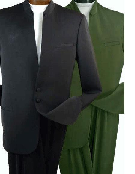 Buy CH451 Men's Black 2 Buttons Banded Collar Mandarin Suits 100% Wool Jacket & Pleated Pants Nehru Style