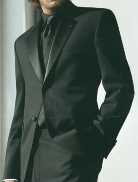 Buy B$775 Package Deal 2-Button Notch Lapel Side Vented Super 120's Wool Tuxedo + Black Shirt + Black Tie