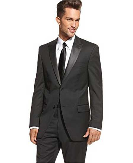 Buy SM1897 Men's Two Button Slim Fit Peak Lapel Black Solid Wool Tuxedo Suit