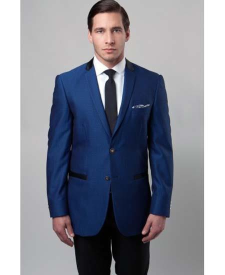 Dark Blue 2 Button Mens Slim Fit Jacket Contrasting Notch Collar And Trim Blazer