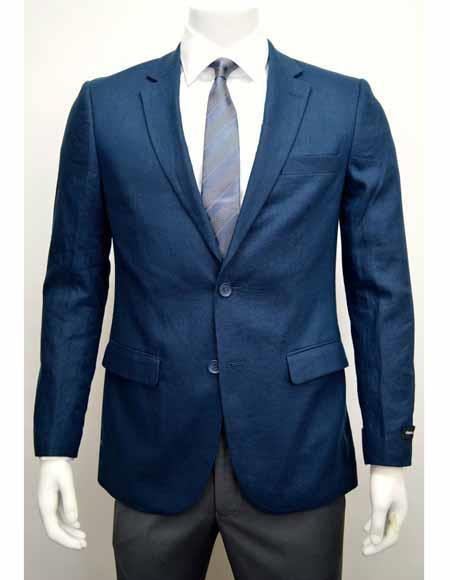 Men's Blue Linen Two Button Cheap Priced Designer Fashion Dress Casual Blazer For Men On Sale Side Vent Jacket Sportcoat Blazer