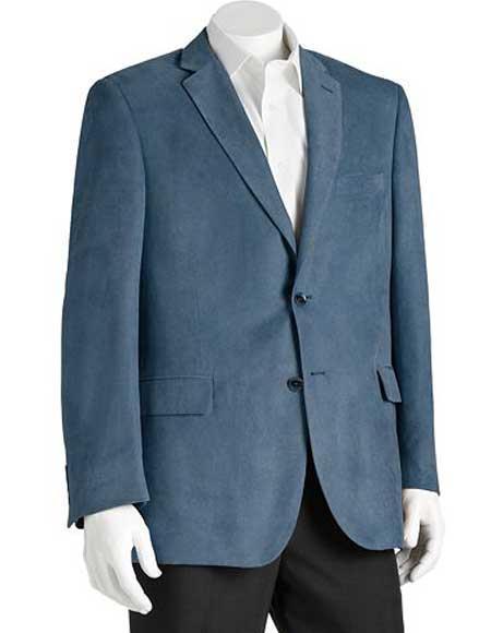 Microsuede Mens Notch Lapel Polyester Double Vent 2 Button Classic Fit Blue Blazer