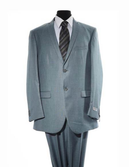 Mens Blue Two Button Closure Notch Lapel Single Breasted Suit