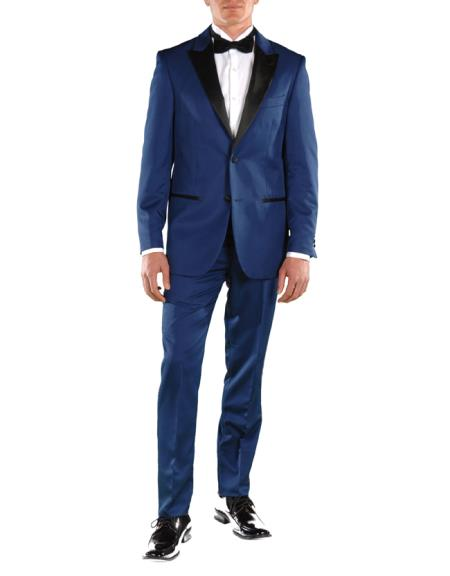 Buy SM3945 Men's Peak Lapel Two Button Single Breasted Slim Fit Blue 2 Piece Tuxedo Suit