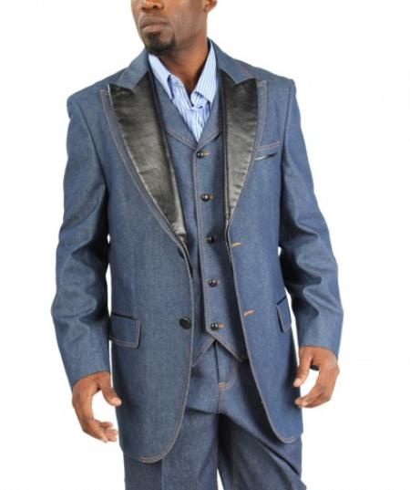 Fashion Two Button Cotton Timmed Denim Suit Three Button Traditional Fit Black,Blue