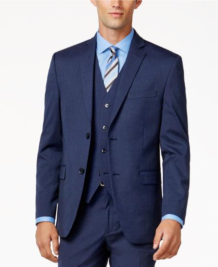 Men's 2 Button Medium Blue Slim-Fit Fully lined Jacket