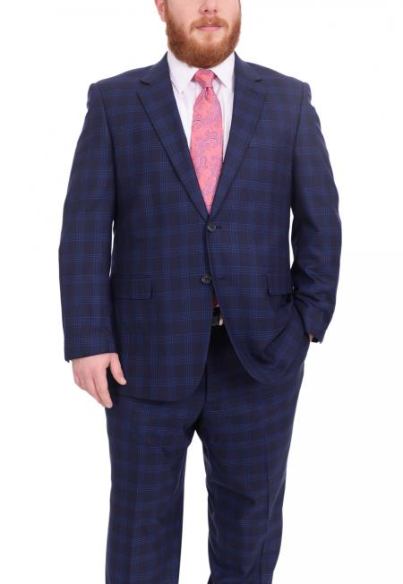 Mens Plaid Pattern Portly Fit Blue Two Button 100% Wool Fully Lined Suit