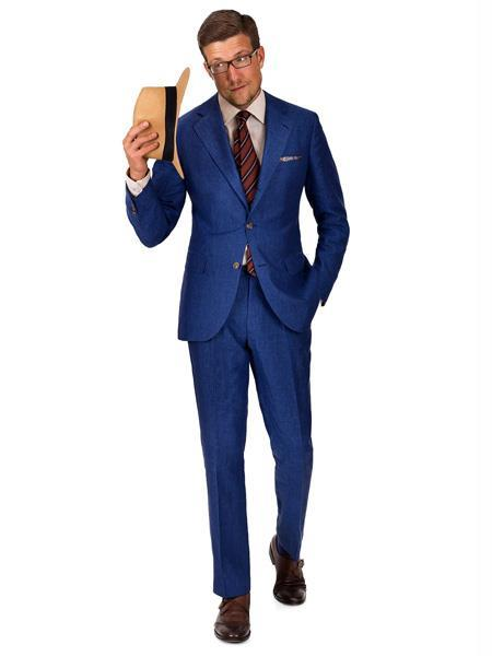 Men's 2 Button Intense Blue Linen Suit