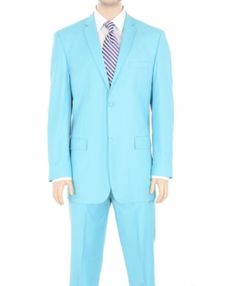 Button Suit Solid Sky