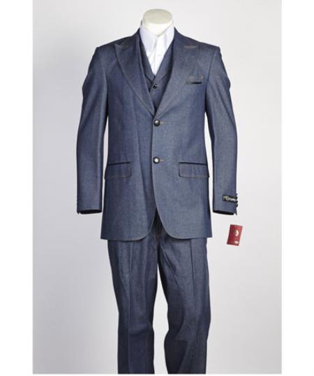 Mens 2 button Vested, Peak Lapel, Denim Fashion Suit in Blue