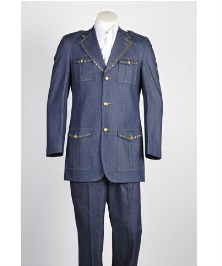 Mens diamond nail heads Two Piece 2 Button Safari Military Style Suit Blue