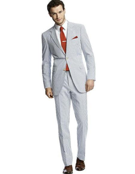 SKU#CH2395 Mens classic Blue Best Suit Buy One Get One Suits Free Seersucker Suit