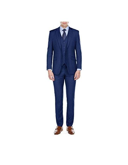 Mens Slim Fitted Blue 3 Piece Single Breasted 2 Button Notch Lapel Suits (Buy Wholesale 10PC&UP of this for $90)