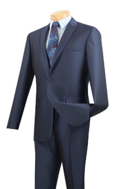 Mens Formal wear Midnight Blue trim fit Suit ~ Two Button Peak Lapel Tuxedo