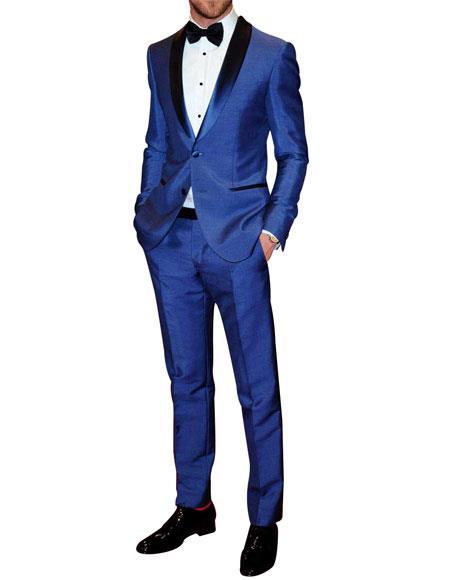 Mens 2 Button Shawl Lapel Blue Single Breasted Tuxedo