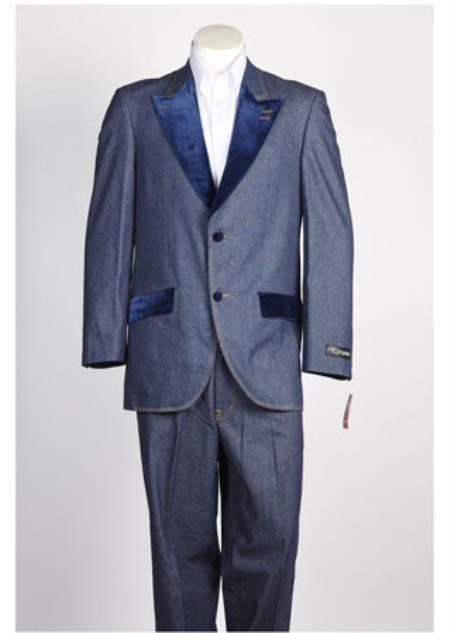 Single Breasted Mens Velvet 2 Button Denim Tuxedo Jean Blue Suit