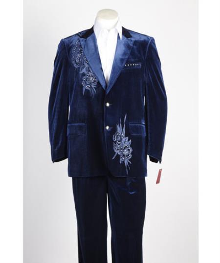 Mens 2 Button Midnight Blue ~ Navy Velvet Jacket, With Floral Pattern, Satin Peak Lapel, And Black Dress Pants