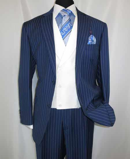 Mens 2 Button Chalk Bold Stripe ~ Pinstripe Blue Single Breasted Shawl Collar 1920s 30s Fashion Vintage Pattern No Vest Included Suit