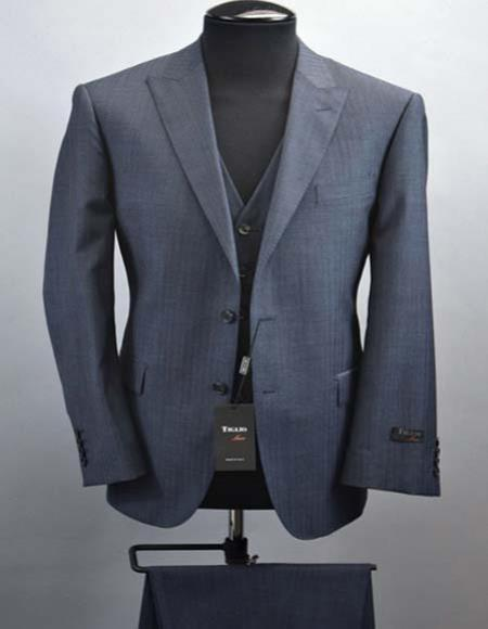 Buy SM2704 Tiglio Luxe Tufo Men's Fine Italian Wool 2 Button Peak Lapel Blue Modern Fit Vested Suit