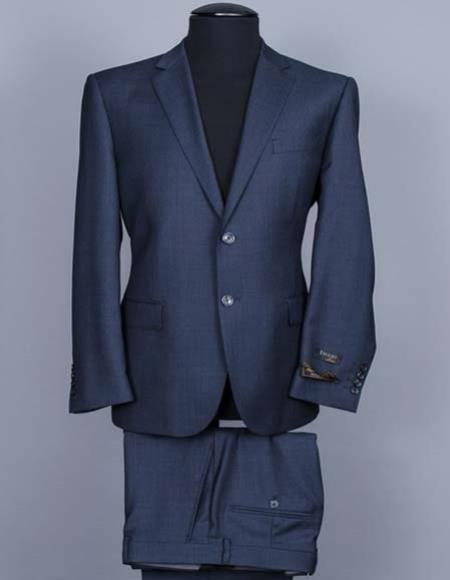 Tiglio Mens Italian Blue Nail Head 100% Wool Notch Lapel Side Vent Two Button Suit
