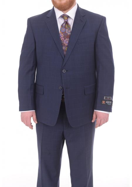 Mens 2 Button Portly Fit Blue Plaid Pattern With Overcheck Wool Suit