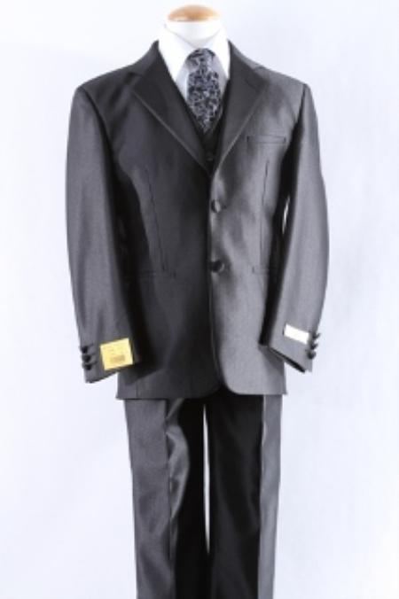 Mens Two Button Notch Collar Polyester Fabric Smooth Dress Suit Perfect for toddler Suit wedding  attire outfits