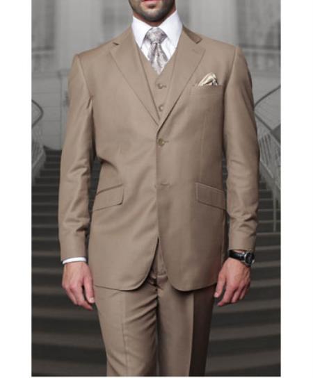 Statement Confidence Mens Bronze ~ Camel  3 Piece 2 Button Italian Designer Fine Brands Best Italian Style Cut Suits