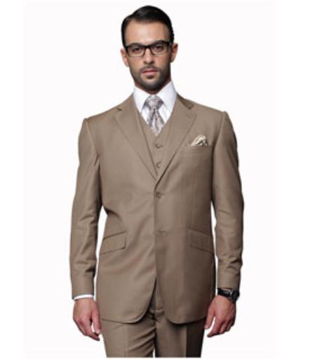 Mens 2 Button Pleated Pants Vested 3 Piece Fine Brands Best Italian Style Cut Suits 100% Wool Bronze ~ Camel