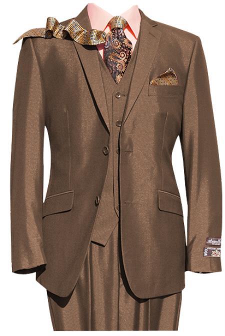 Mens Rust ~ Copper ~ Light Brown 2 Button 3 Piece Notch lapel Suit